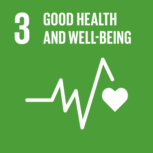 SDG 3 Good health and wellbeing EKG curve that ends in a heart on green background