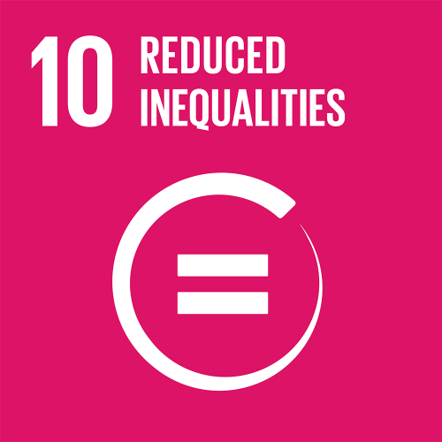 """SDG """" No poverty white person icons on red background"""