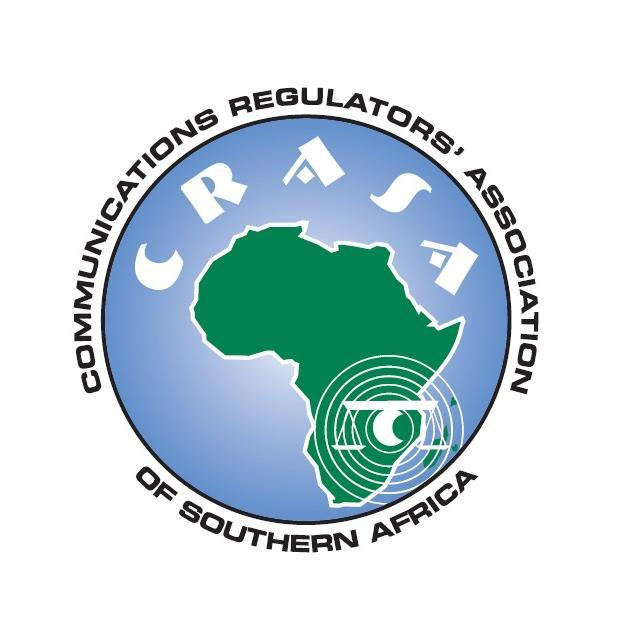 CRASA logo: green Africa map on blue globe scale symbol with rings emanating from it placed in south east, CRASA written above Africa in white letters