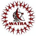 WATRA logo - satellite dish with ring of persons around it WATRA written below satellite dish