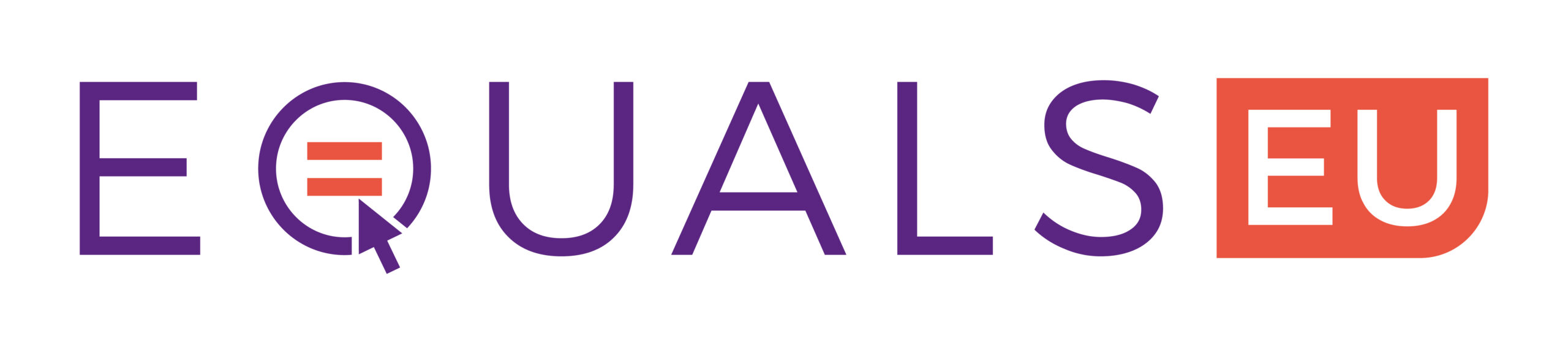 EQUALS EU logo: Equals text in purple, the q is formed of an o with an equals sign inside it, an arrow is about to click it to form the letter q. EU written in white in an orange box