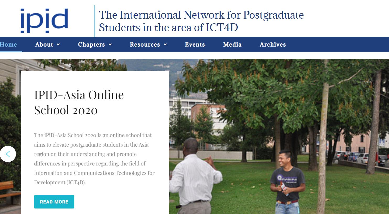 screenshot of ipid website blue ipid logo and menu items news from ipid asia school online below menu line